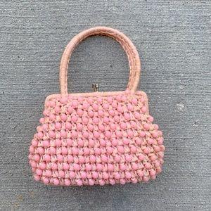 vintage pink beaded straw handbag